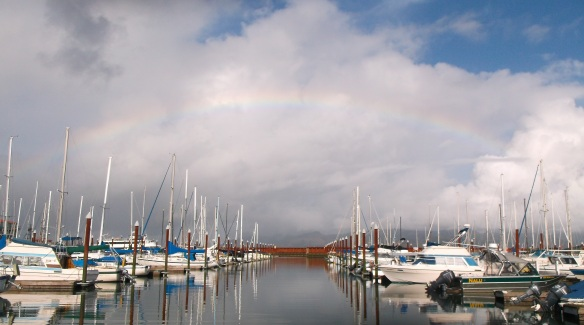 Rainbow over the West Mooring Basin. Astoria, Oregon on the Columbia River.